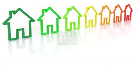 Outlines of homes with the colors of energy efficiency