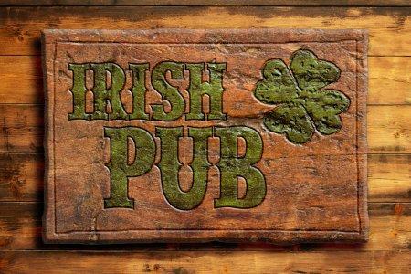 Photo pour Pub irlandais signe sur un mur en bois - image libre de droit