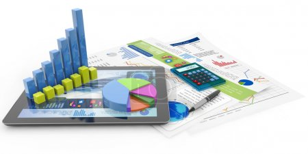 Photo pour Graphique, calculatrice, stylo, tablette et documents financiers - image libre de droit