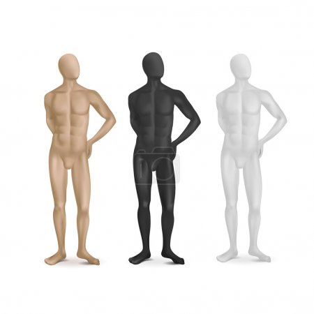 Vector Set of Three Male Mannequins