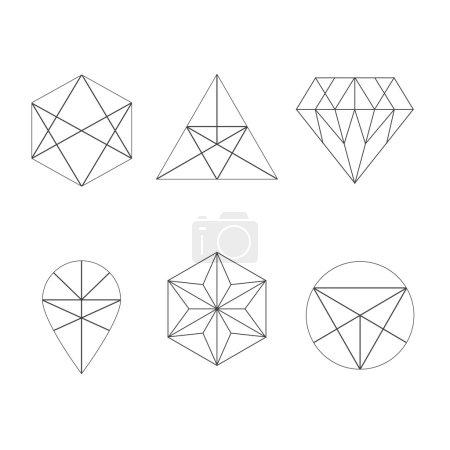 Illustration pour Ensemble d'icônes, logo géométrique - image libre de droit