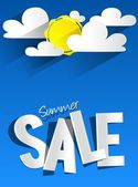 Hard Discount Summer Sale With Clouds And Sun