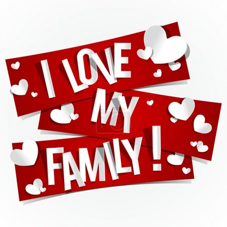 Illustration for I Love My Family Banners vector illustration - Royalty Free Image