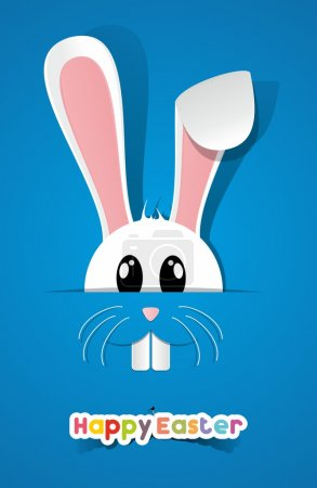 Illustration for Happy Easter Greeting Card with Cartoon Rabbit vector illustration - Royalty Free Image