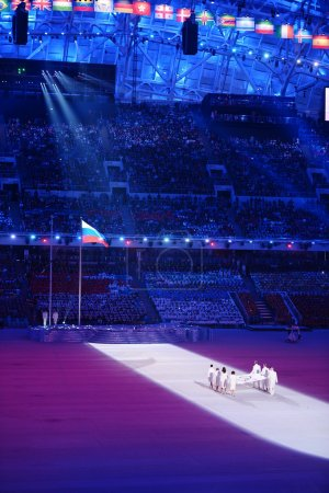 Opening ceremony of Sochi 2014, bearers of the Olympic flag