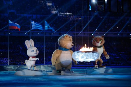 Official mascots at the closing ceremony of Sochi 2014