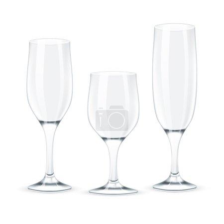 Illustration pour Set de verres à vin. Illustration vectorielle - image libre de droit