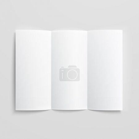 Illustration for White stationery: blank trifold paper brochure on gray background with soft shadows and highlights. Vector illustration. EPS10. - Royalty Free Image