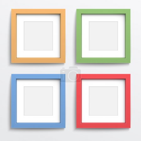 Illustration for Color square frame set on gray wall with realistic shadows. Vector illustration. EPS10. - Royalty Free Image