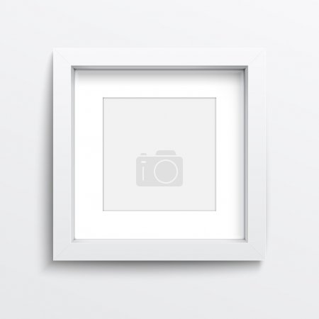 Illustration for White square frame on gray wall with realistic shadows. Vector illustration. EPS10. - Royalty Free Image