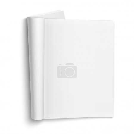 Blank open magazine template on white background w...
