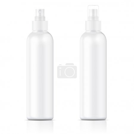 Illustration for White plastic bottle (cosmo round style) with fine mist ribbed sprayer for cosmetic, perfume, deodorant, freshener. Vector illustration. - Royalty Free Image