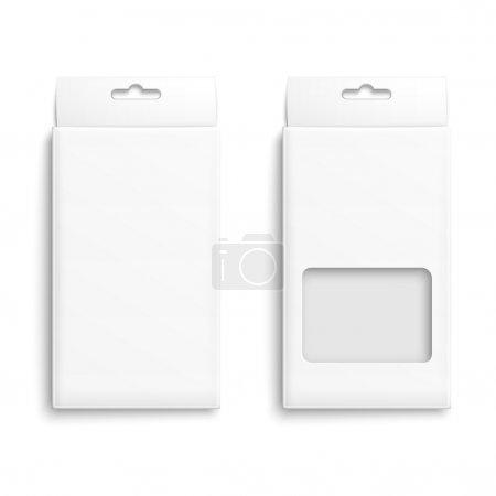 Ilustración de Caja de embalaje de papel blanco con agujero para colgar. colección del producto envasado. listo para su diseño. Ilustración del vector. Eps10. - Imagen libre de derechos