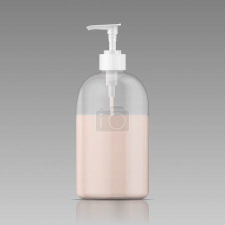 Illustration pour Bouteille en plastique avec bouchon de distributeur avec savon liquide, shampooing, gel douche, lotion, lait corporel. Illustration vectorielle . - image libre de droit