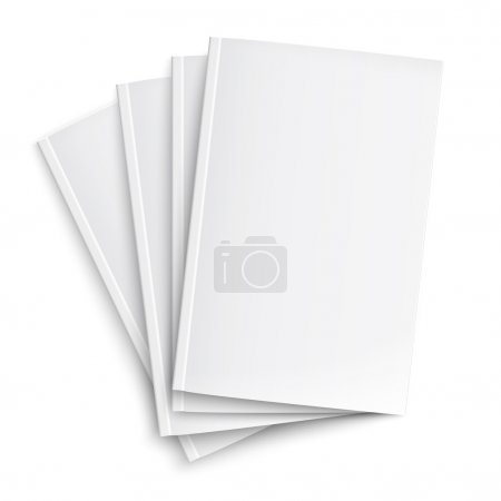 Illustration for Stack of blank magazines template. on white background with soft shadows. Ready for your design. Vector illustration. EPS10. - Royalty Free Image