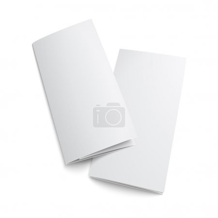 Illustration for Couple of blank trifold paper brochure. on white background with soft shadows. Z-folded. Vector illustration. EPS10. - Royalty Free Image
