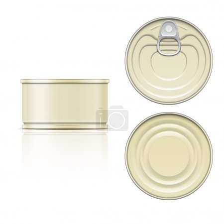 Tin can with ring pull: side, top and bottom view