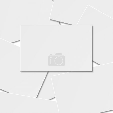 Illustration for Pile of blank business card on white background with soft shadows. Vector illustration. EPS10. - Royalty Free Image