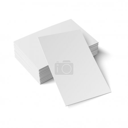 Illustration for Stack of blank business card with one card in front on white background with soft shadows. Vector illustration. EPS10. - Royalty Free Image