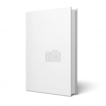 Illustration for Blank vertical book cover template with pages in front side standing on white surface Perspective view. Vector illustration. - Royalty Free Image