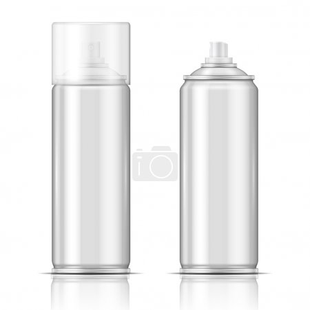 Illustration for Blank aluminium spray can template with transparent cap for paint, hairspray, deodorant, . Packaging collection. - Royalty Free Image