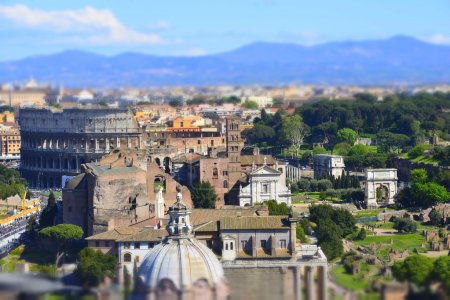 Panoramic view of ancient Roman ruins