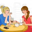 Two girls in the cafe. Vector illustration...