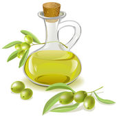 bottle of olive oil and a branch with olives