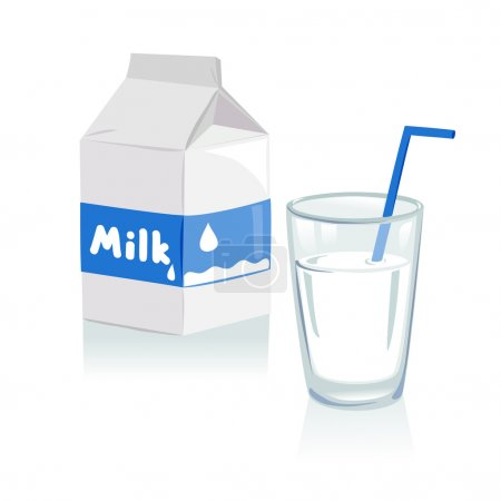 Glass of milk and a carton of milk