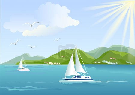Illustration for Yacht, sea and mountains. vector illustration - Royalty Free Image
