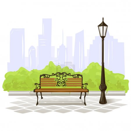 bench and streetlight on city background