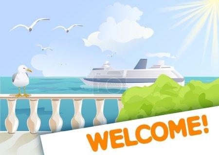 Illustration pour Dépliant avec vue sur la mer et un bateau de croisière. illustration vectorielle - image libre de droit