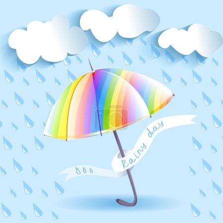 rainbow umbrella and rain