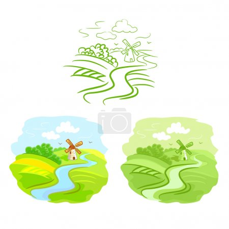 Illustration for Set of sketches rural landscape. vector illustration - Royalty Free Image