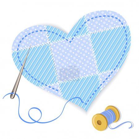 heart patchwork and thread