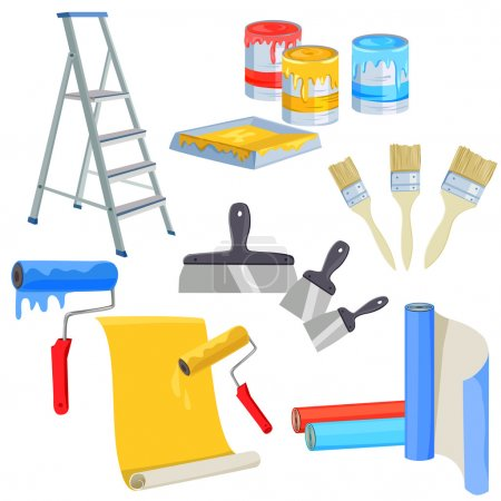 Illustration for Set of paints for home renovation. vector illustration - Royalty Free Image