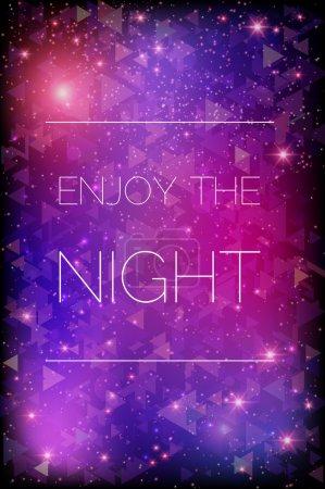 Illustration for Glittering stars on purple background - Royalty Free Image