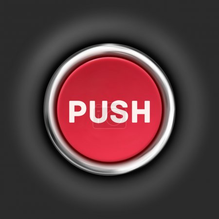 Illustration for Push button, 3d red glossy metallic icon, vector eps 10 - Royalty Free Image