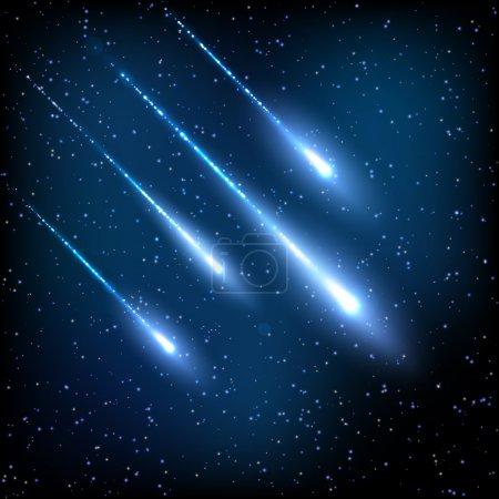 Blue night sky with shooting stars