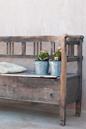 Photo for Shabby chic bench with flowers - Royalty Free Image