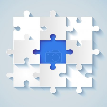 Photo for Paper puzzle with a blue the middle for business concepts. EPS 10 - Royalty Free Image