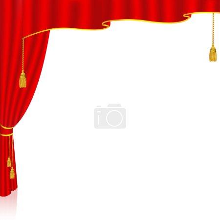 Illustration pour Rideau rouge avec un fond blanc derrière. Illustration vectorielle. Idéal pour les présentations, brochures, arrière-plan promotionnel, publicités - image libre de droit