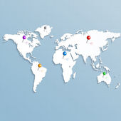 Paper strategic map of the world with colorful pins for your need