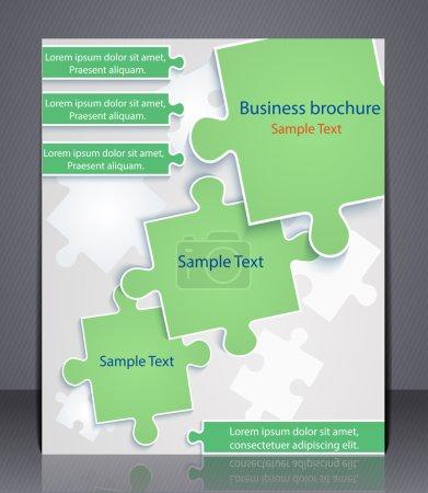 Illustration pour Brochure d'affaires avec des éléments de puzzles. Présentation, gabarit, dépliant. SPE 10 - image libre de droit
