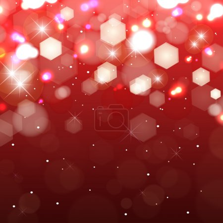 Lights on red background. Shimmering colored lights with stars