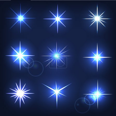 Set forms of sparks. Shining star on a blue background