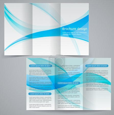 Tri-fold business brochure template, vector blue design flyer
