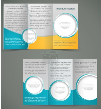 Vector green brochure layout design with yellow elements, busine