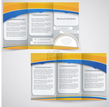 Vector blue brochure layout design with yellow elements, busines