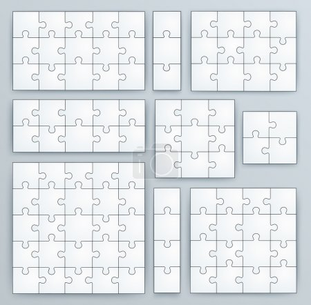 Illustration for Jigsaw Puzzle Templates. Set of puzzle 15, 3, 12, 10, 9, 4, 16, 25 pieces - Royalty Free Image